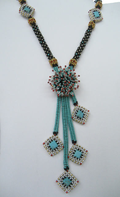 Beaded Turquoise Lariat Necklace by Bonnie Van Hall
