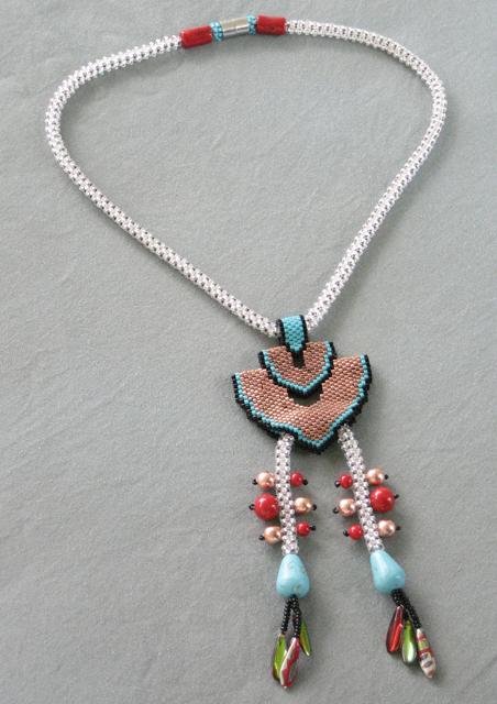Beaded Copper Art Deco Squash Blossom Necklace by Bonnie Van Hall