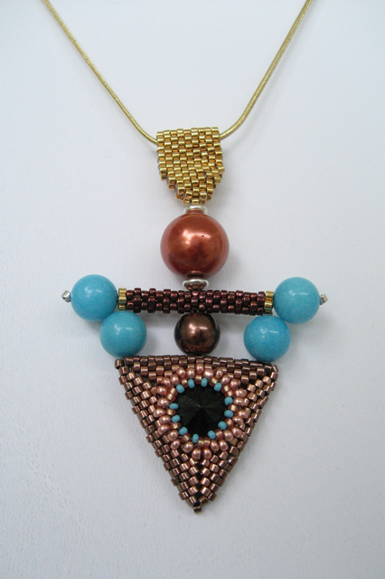 Art Deco Beaded Triangular Magnesite Pendant by Bonnie Van Hall