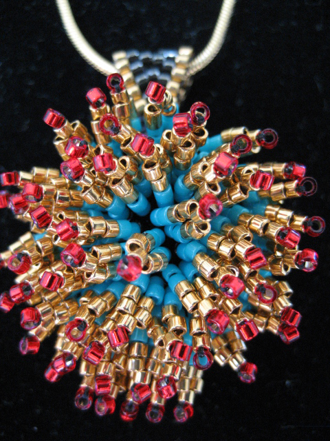 Beaded Anenome Pendant by Bonnie Van Hall