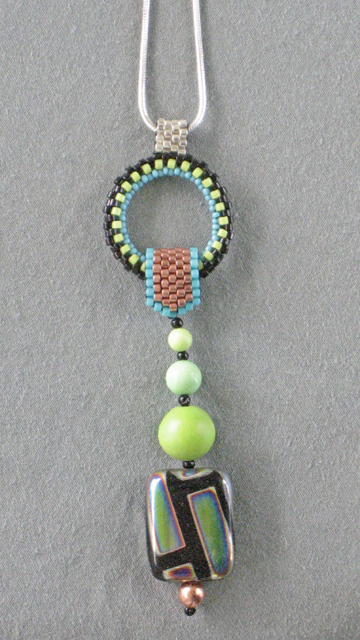 Beaded Green Turquoise Art Deco Pendant by Bonnie Van Hall