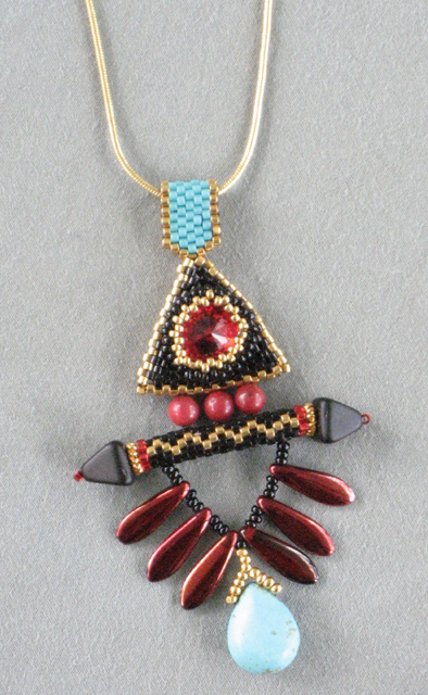 Beaded Triangular Winged Pendant by Bonnie Van Hall