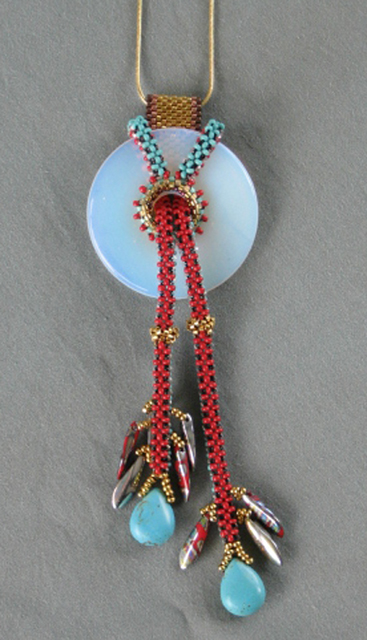 """This Land"" Beaded gemstone pendant by Bonnie Van Hall"
