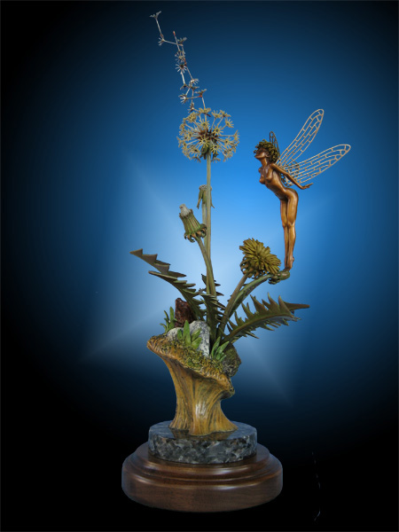 Fantasy Fine Art Bronze Fairy blowing Dandelion Puff Sculpture